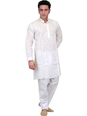 Star-White Kurta Pajama with Lukhnavi Chikan Embroidery by Hand