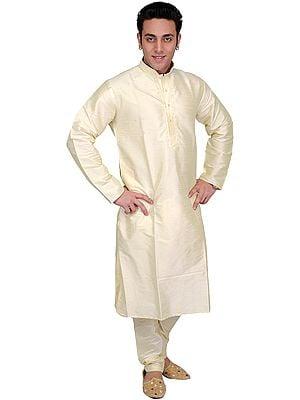 Plain Wedding Kurta Pajama with Embroidery on Neck