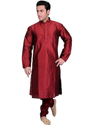 Plain Wedding Kurta Pajama with Embroidery on Neck