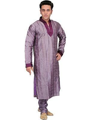 Lavender-Gray Wedding Kurta Pajama with Patch Work on Neck