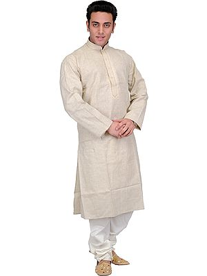 Beige Kurta Pajama with Woven Stripes and Embroidery on Neck