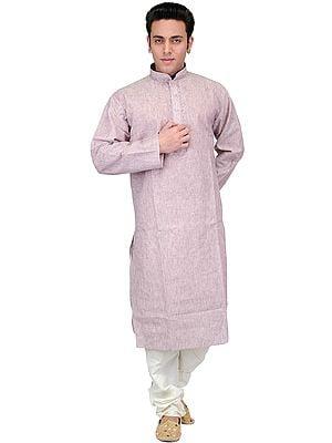 Plain Pure Cotton Kurta Pajama with Embroidery on Neck