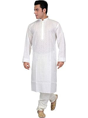 Pure Cotton Kurta Pajama with Wide Woven Stripes and Embroidery on Neck