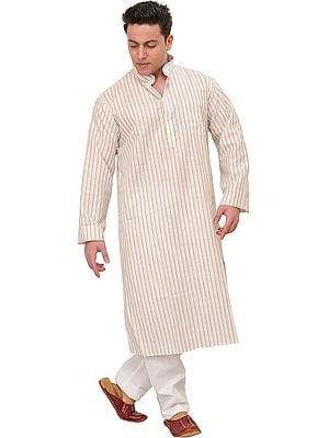 Casual Kurta Pajama Set with Woven Stripes
