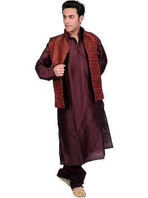 Three Piece Kurta Set with Brocaded Waistcoat