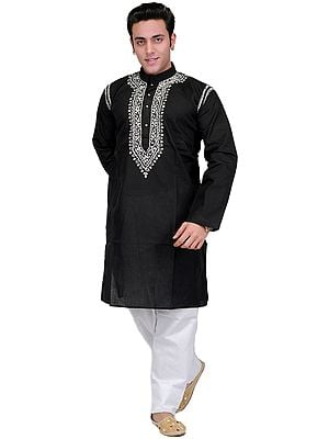 Black Kurta Pajama with Lucknavi Embroidery on Neck
