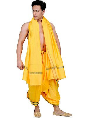 Beeswax-Yellow Dhoti and Angavastram Set with Woven Border