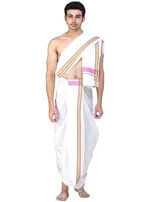 Dhoti and Angavastram Set with Woven Border