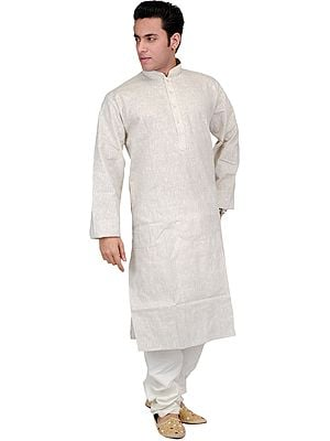 Khadi Kurta Pajama with Thread Embroidery on Neck and Woven Stripes