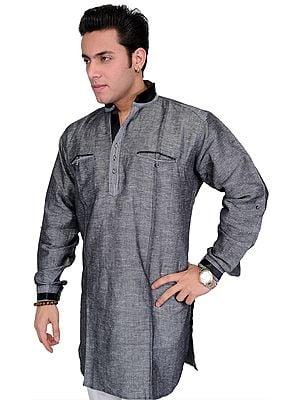 Gray-Black Designer Shirt with Crystal Buttons