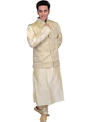 Three-Piece Golden-Beige Wedding Kurta Pajama Set with Brocaded Vest