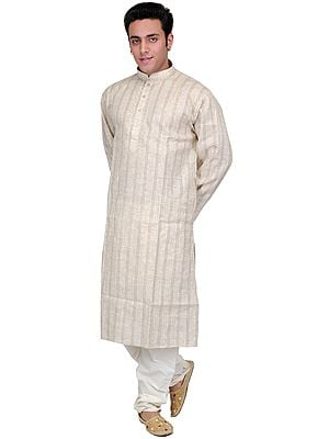 Pure Cotton Kurta Pajama with Thread Embroidery on Neck