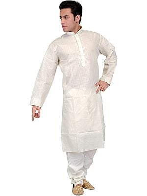 Plain Kurta Pajama with Thread Embroidery on Neck