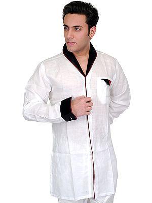 Bright-White Designer Shirt with Velvet Collar