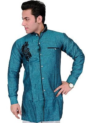 Pacific-Blue Wedding Shirt with Embroidered Motif in Black