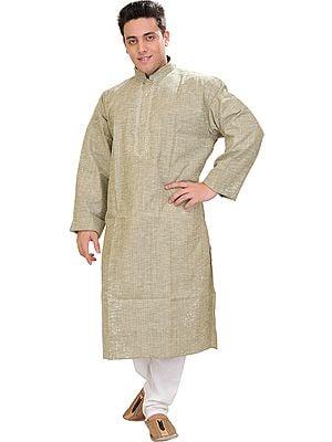 Pure Cotton Kurta Pajama with Thread Embroidery on Neck