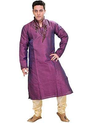Royal-Purple Wedding Kurta Pajama Set with Embroidered Beads on Neck