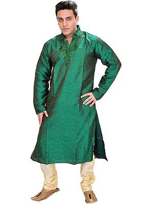 Forest-Green Wedding Kurta Pajama with Hand-Embroidered Beads on Neck