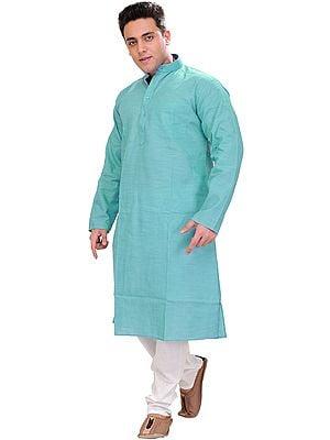 Plain Linen Kurta with White Pajama