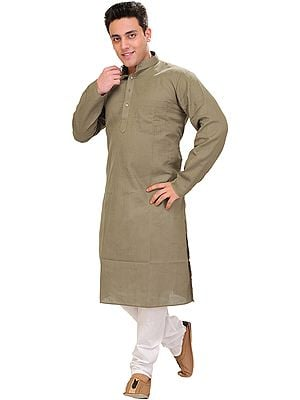 Plain Linen Kurta with White Pajama