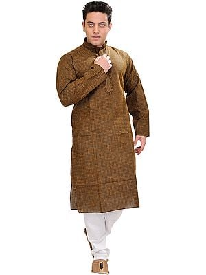 Kurta Pajama with Woven Checks and Embroidery on Neck