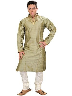 Basil-Green Wedding Kurta Pajama with Embroidered Beads