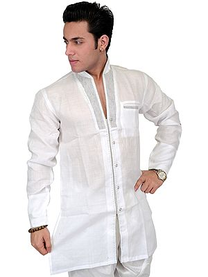 Bright-White Designer Shirt with Stylish Collar