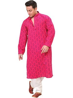 Kurta Pajama Set with Floral Block-Print