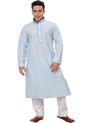 Plain Pure Cotton Kurta Pajama with Embroidery on Neck