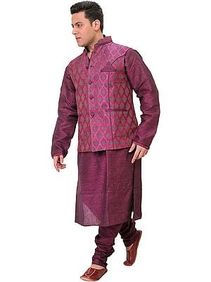 Raspberry-Radiance Three Piece Kurta Set from Bhagalpur with Jacquard-woven Waistcoat