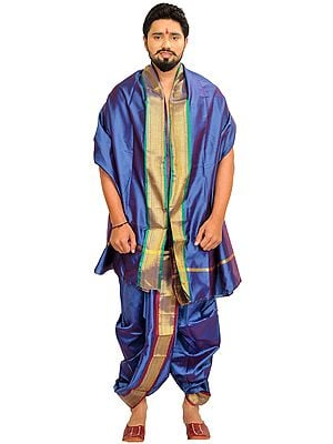 Ready to Wear Dhoti and Veshti Set with Woven Golden Border