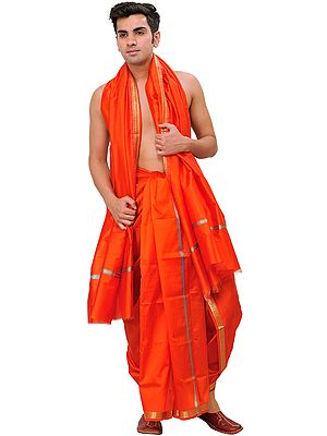 Dhoti and Angavastram Set with Woven Temple Border