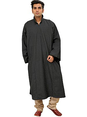 Pure Wool Men's Phiran from Kashmir with Front Zipper