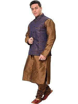 Sepia-Colored Three Piece Wedding Kurta Pajama Set with Brocaded Waistcoat