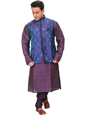 Wineberry-Purple Three Piece Kurta Pajama Set with Brocaded Waistcoat