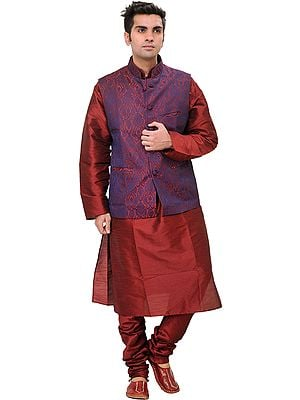 Tibetan-Red Three Piece Wedding Kurta Pajama Set with Vest