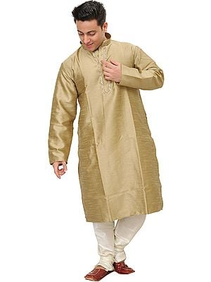 Plain Kurta Pajama Set with Zigzag Weave in Self and Embroidery on Neck