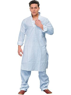 Plain Kurta Pajama with Stylish Collar and Front Pocket