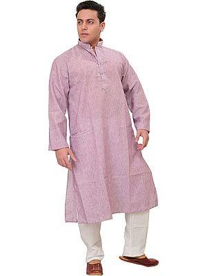 Plain Pure Cotton Kurta Pajama with Thread Embroidery on Neck