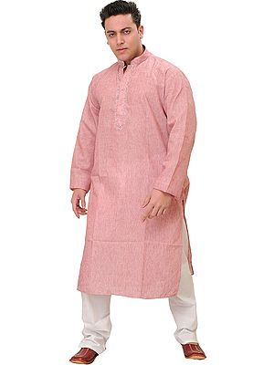 Plain Pure Cotton Kurta Pajama with Thread Embroidery on Neck