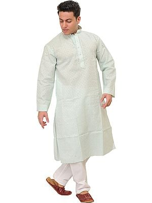 Pure Cotton Kurta Pajama with Woven Checks and Thread Embroidery on Neck