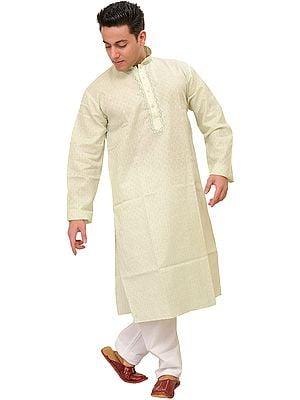 Pure Cotton Kurta Pajama with Woven Checks and Thread Embroidery on Neck