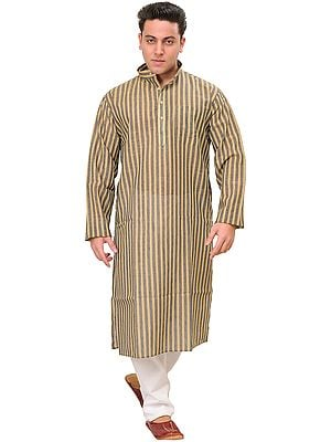 Kurta Pajama with Wide Woven Stripes