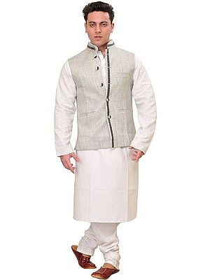 Frost-Gray Three Piece Kurta Pajama Set with Waistcoat