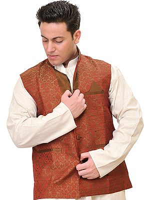 Cocoa-Brown Wedding Waistcoat with Woven Flowers