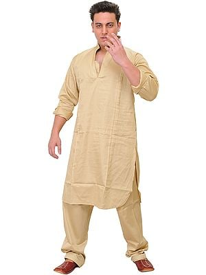 Plain Kurta Pajama with Thread Embroidery on Lapel