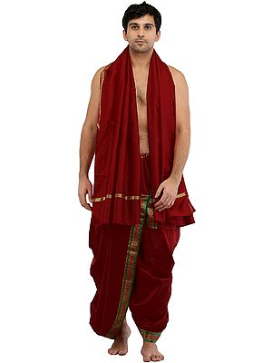 Ready to Wear Dhoti and Angavastram Set with Woven Golden Border