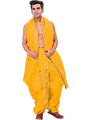 Ready to Wear Dhoti and Angavastram Set with Woven Flowers on Border