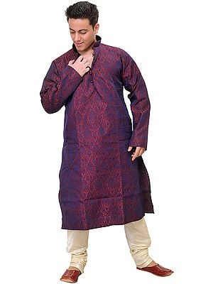 Garnet and Amethyst Wedding Kurta Pajama Set with All-Over Woven Floral Motifs