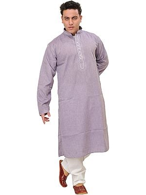 Plain Kurta Pajama with Thread Embroidery
